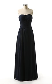 Floor-length Chiffon Bridesmaid Dress A-line Sweetheart with Side Draping