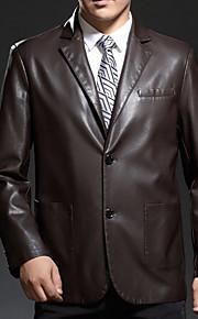 남성의 자켓 퓨어 긴 소매 캐쥬얼 폴리에스테르,블랙 / 브라운