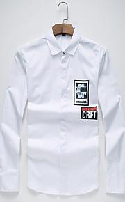 男性用 プリント カジュアル / オフィス / プラスサイズ シャツ,長袖 コットン / ポリエステル ブラック / ホワイト