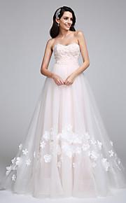 Lanting Bride® Trapèze Robe de Mariage  Traîne Tribunal Coeur Tulle avec Fleur