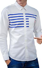 Camisa De los hombres A Rayas Casual-Algodón-Manga Larga-Azul / Rosa / Blanco