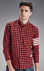 Camisa De los hombres A Cuadros Casual-Algodón-Manga Larga-Rojo / Gris