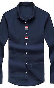 Langærmet Ensfarvet Mænds Fritid / Plusstørrelse Skjorte Bomuld / Polyester Blå / Hvid