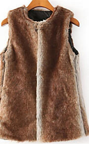 Women's Plus Size / Chinoiserie Fur Coat,Solid Round Neck Sleeveless Fall / WinterBrown /