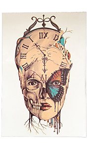 1pc Temporary Women Men Body Art DIY Clock Skull Head Butterfly Flower Arm Tattoo Sticker Design HB-036