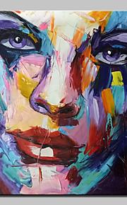 Hånd-malede Abstrakt / Mennesker / Abstrakt Portræt Oliemalerier,Moderne Et Panel Canvas Hang-Painted Oliemaleri For Hjem Dekoration