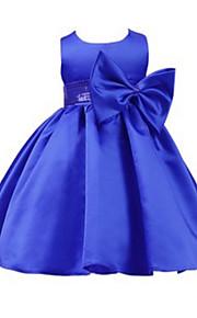 Robe de Soirée Mi-long Robe de Demoiselle d'Honneur Fille - Jersey Sans Manches Bijoux avec Noeud(s) / Ceinture / Ruban