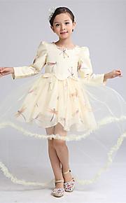 Robe de Soirée Asymétrique Robe de Demoiselle d'Honneur Fille - Satin / Tulle Manches longues Bijoux avecDétail Cristal / Motif /