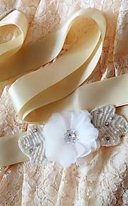 Satin Mariage / Fête/Soirée / Quotidien Ceinture-Billes / Fleur / Strass Femme 250cm Billes / Fleur / Strass
