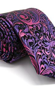 Men's Purple Floral Tie 100% Silk Business Dress Casual Long