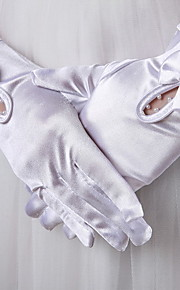 Wrist Length Fingertips Glove Satin Bridal Gloves Spring / Summer / Fall / Winter Pearls / Bow