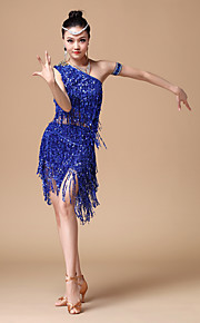 Latin Dance Outfits Women's Performance Cotton / Polyester / Sequins / Tassel(s) 2 Pieces Black / Red / Royal Blue