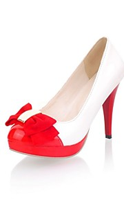 Women's Heels Summer/ Round Toe Patent Leather Office & Career / Casual Stiletto Heel Bowknot Red / White / Beige Others