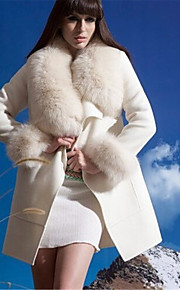 Women's Plus Size / Casual/Daily / Party/Cocktail Simple Fur Coat,Solid / Color Block Stand Long Sleeve Fall /