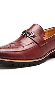 Черный / Красный-Мужской-Свадьба / На каждый день / Для вечеринки / ужина-Кожа-На низком каблуке-Удобная обувь-Туфли на шнуровке