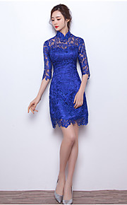 Short / Mini Lace Bridesmaid Dress - Short A-line High Neck with Buttons
