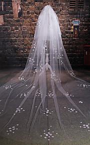 Véus de Noiva Duas Camadas Véu Catedral Corte da borda Tule Marfim