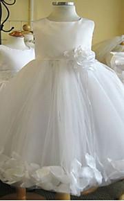 Robe de Soirée Mi-long Robe de Demoiselle d'Honneur Fille - Tulle Sans Manches Bijoux avec Fleur(s)