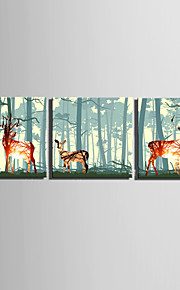 E-HOME® Stretched Canvas Art The Deer In The Forest Decoration Painting  Set of 3