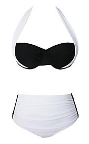 De las mujeres Bikini-MonocolorHalter-Poliéster / Espándex