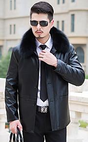 男性用 プレイン カジュアル ジャケット,長袖,ポリエステル,ブラック / ブラウン