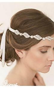 Dame Stoff Headpiece-Bryllup Pannebånd 1 Deler Hvit Rund 48cm