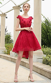 Knee-length Lace / Tulle Bridesmaid Dress A-line Scoop with Appliques / Lace