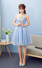 Knee-length Crepe / Lace / Satin Bridesmaid Dress A-line Jewel with Bow(s)