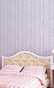 Non-Woven Love Printed Wallpaper Roll Striped Design Wall Paper For Kid Room  Minimalist Home Decoration
