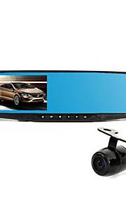 drivende optager blå spejl dobbelt linse 4.2 tommer high definition nattesyn bil opbakning videooptager h1688