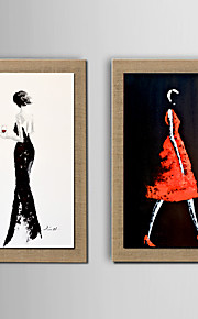 2Panel Modern Wall Art Abstract People Oil Painting  Hand Painted On Natural Linen With Stretched Frame
