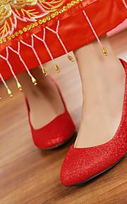 Homme-Mariage-Rouge / Argent / Or-Gros Talon-Bout Pointu-Chaussures à Talons-Similicuir