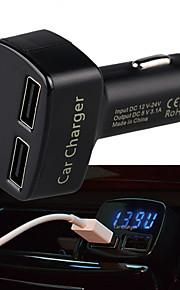 multifunctionele Dual USB auto-oplader met display voor amper spanning temperatuur