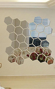 12PCS New Qualified Decoration Stereo Removable 3D DIY The Hexagonal Mirrors Stickers