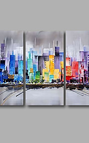 Stretched (Ready to hang) Hand-Painted Oil Painting 120cmx80cm Canvas Wall Art Modern Building City