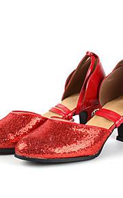 Sapatos de Dança(Preto / Vermelho / Prateado / Dourado) -Feminino-Não Personalizável-Latina / Tênis de Dança
