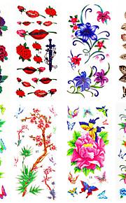 16 Designs Waterproof Temporary Tattoos Sticker Flower Pattern for  Body Art Beauty Makeup 24cm*9.5cm (Assorted Pattern)