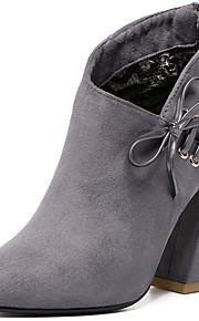 Черный / Серый-Женский-Для офиса / На каждый день-Мех-На толстом каблуке-Военные ботинки-Ботинки