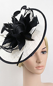 Women's Feather / Net Headpiece-Wedding / Special Occasion Party Black-White Vintage Fascinators Headband 1 Piece