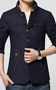 男性用 プレイン カジュアル / オフィス コート,長袖 コットン,ブルー / レッド