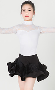 Latin Dance Outfits Children's Performance Spandex / Polyester Ruched 2 Pieces Black / White Latin Dance Long