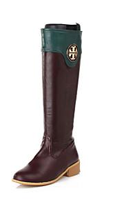 Черный / Коричневый / Зеленый / Красный-Женский-Для офиса / На каждый день-Дерматин-На толстом каблуке-Военные ботинки / Модная обувь-