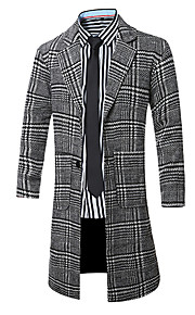 Men's Going out / Casual/Daily Vintage / Simple / Street chic Coat,Striped Notch Lapel Long Sleeve Fall / Winter Red / Black Wool