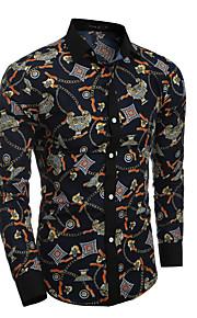 דפוס צווארון חולצה בוהו / סגנון רחוב ליציאה / פורמאלי / מועדונים חולצה גברים,כל העונות שרוול ארוך כחול דק כותנה