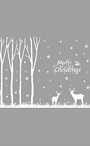 Wall Stickers Wall Decals Style Christmas Forest Elk PVC Wall Stickers