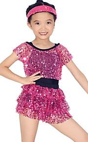 Dresses Performance Spandex / Paillettes / Sequins / Tassel(s) / Tiers 1 Piece Ballet Short Sleeve Natural Dress