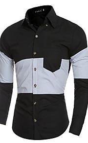 אחיד / קולור בלוק צווארון חולצה פשוטה / סגנון רחוב ליציאה / פורמאלי / מועדונים חולצה גברים,כל העונות שרוול ארוך לבן / שחור דק כותנה
