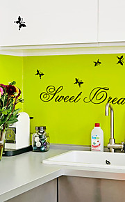 Butterfly Sweet Dream English Words Wall Stickers RemovableDIY Living Room Bedroom Wall Decals