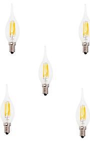 6W E14 Ampoules à Filament LED CA35 6 COB 550LM lm Blanc Chaud / Blanc Froid Décorative V 5 pièces