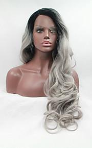 Sylvia syntetisk blonder foran parykk svarte røtter grått hår varmebestandig lang bølget naturlig look syntetiske parykker